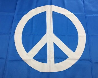 3'x5' French blue Peace sign flag
