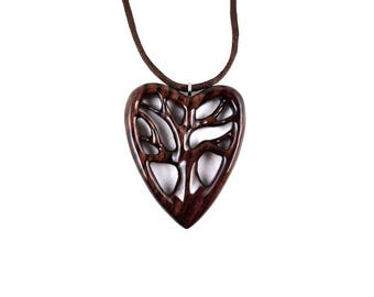 Wooden Heart Pendant, Wooden Tree of Life Necklace, Tree of Life Pendant, Wood Heart Necklace, 5th Anniversary Gift for Her, Wood Jewelry