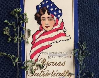 Vintage Postcard - Independence Day - July 4th - 1908
