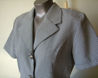 Jacket or blouse, short sleeves, black and white gingham, french Vintage, size M/2T