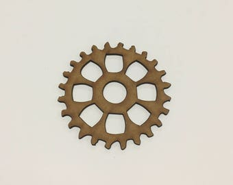Steampunk Cogs Wooden MDF - 75mm - Decoration Card Making Craft - (6) - A9