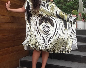 Natural silk dress, silk kaftan, party dress