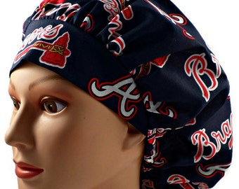 bce68ed288243 official womens adjustable bouffant surgical scrub hat made of atlanta  braves fabric 4f49f 92aec