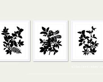 Feuilles de mur Art Print - lot de 3 gravures - botanique Wall Art - art en couleur tropicale laisse Wall Art - tirages modernes de feuille - sur mesure