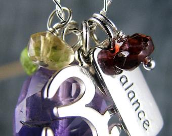 Yoga Jewelry, Balance Charm Necklace, Om Charm Necklace, Ohm Jewelry, Chakra Healing Gemstones