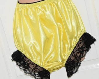 """EE 22 - Soft satin big silky panties, frilly & lacy sissy wear, to 38"""" waist,  Sissy Lingerie"""