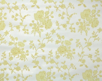 1950s Vintage Wallpaper by the Yard - Floral Wallpaper with Yellow Flowers on White Nancy McClelland Floral