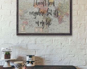 Adventures world map travel poster we must take adventures travel print poster i havent been everywhere but its on my list gumiabroncs Image collections