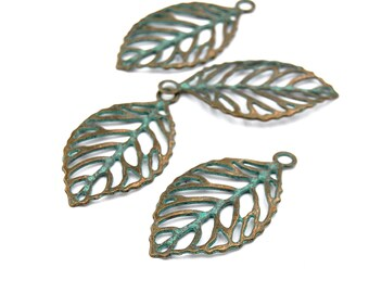 20pc, Bronze Leaf Charm, Green/Bronze finish