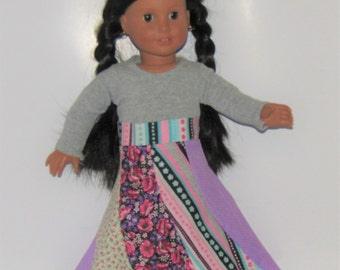 """Purple and Pink Spiral Skirt made to fit American Girl Doll Clothes 18"""""""