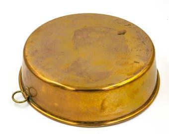 Large antique Baking Mold, Copper Cake Mold, Vintage Brass Dish, Kitchen Decor, Swedish Sweden