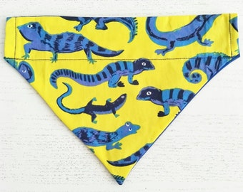 Lizard Dog Bandana, Neckerchief, Over The Collar, Dog Scarf,