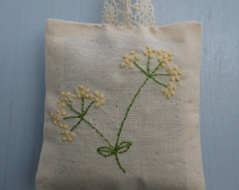 Embroidered lavender sachet bag