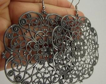 Large Antiqued Silver Filigree Earrings, Ornate Silver Earrings, Huge Earrings, Wedding Gift, Gift for her, Gift under 25