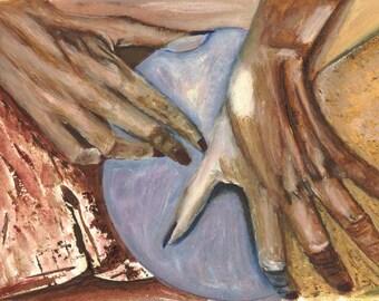 Hands covering, fruit, erotic, sensual
