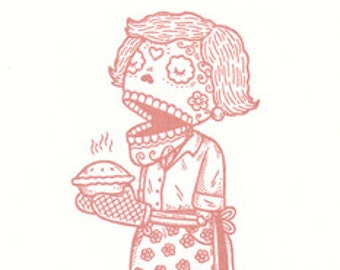 La Cocinera Limited Edition Gocco Screenprint Day of the Dead Art