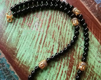 Mens Onyx and Buddha necklace, Mens beaded necklace, Yoga Necklace.
