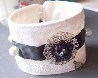 Fabric Cuff Black and White Tie Bracelet - Floral Vintage Flower Lace Ribbon Pearls - Jewellery Jewelry For Women Gift Vintage Handmade