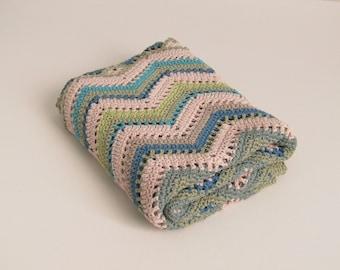 Organic cotton blanket - chevron design - blues and greens - seashore - wrap - shawl - baby blanket - lap blanket
