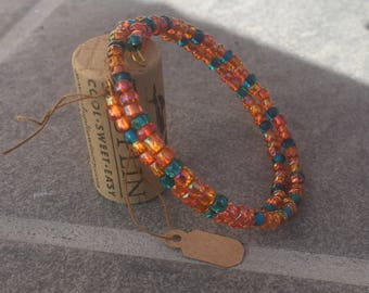 Orange and Teal Memory Wire Bracelet