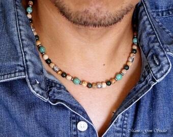 Bloodstone Mens Beaded Necklace Green Gemstone Men S