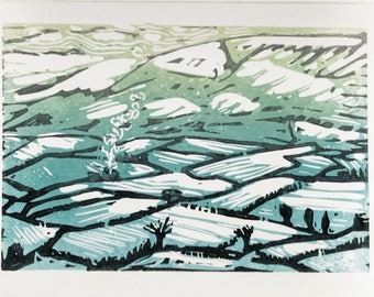 Hand Printed linocut Snow in Yorkshire dales