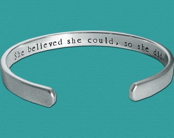 Dog Agility Affirmation Cuff - she believed she could so she did - Canine Agility Jewelry - Sterling Silver