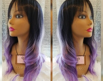 Purple ombre wig with bangs