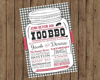 Printable I Do BBQ Shower Party Invitations, 5x7, Typography, Gingham
