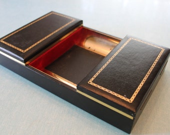 Sophisticated and Classic Unique Vintage Men's Jewelry Dresser Tray /Valet Brass with Black and gold stitched leather/vinyl wrap