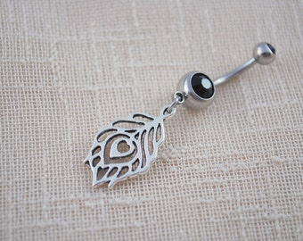 Feather belly ring, black stone jewelry, Peacock piercing nombril, small charm bauchnabel piercing, bohemian body jewelry