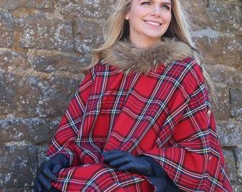 100%  Scottish Wool Edinburgh Royal Stewart Tartan / Plaid  Real Fur Trimmed Poncho/ Cape Bespoke Orders any Tartan.