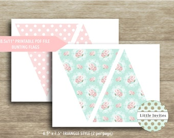 Bunting Flags/Pennant Flags/Banner Flags/Instant Download/DIY Printable/Shabby Chic Flags/Birthday Flags/Baby Shower Flags/High Tea Flags