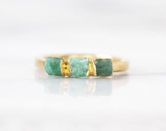 emerald stacking ring | emerald birthstone ring | genuine emerald ring | raw emerald jewelry | may birthstone ring | may birthstone jewelry