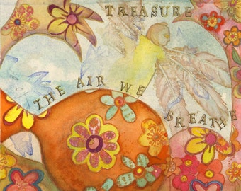 Treasure the Air We Breathe - Mixed Media Painting