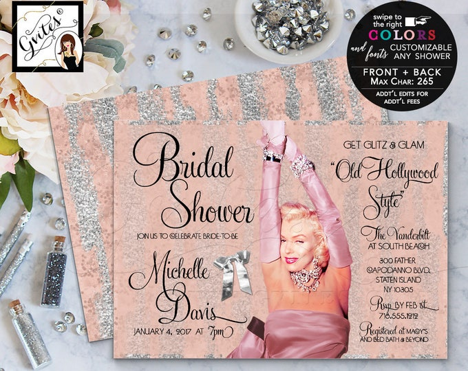 Rose gold invitations, bridal shower Marilyn Monroe gold and silver, glitz and glam, pink silver, pink gold, digital printable.