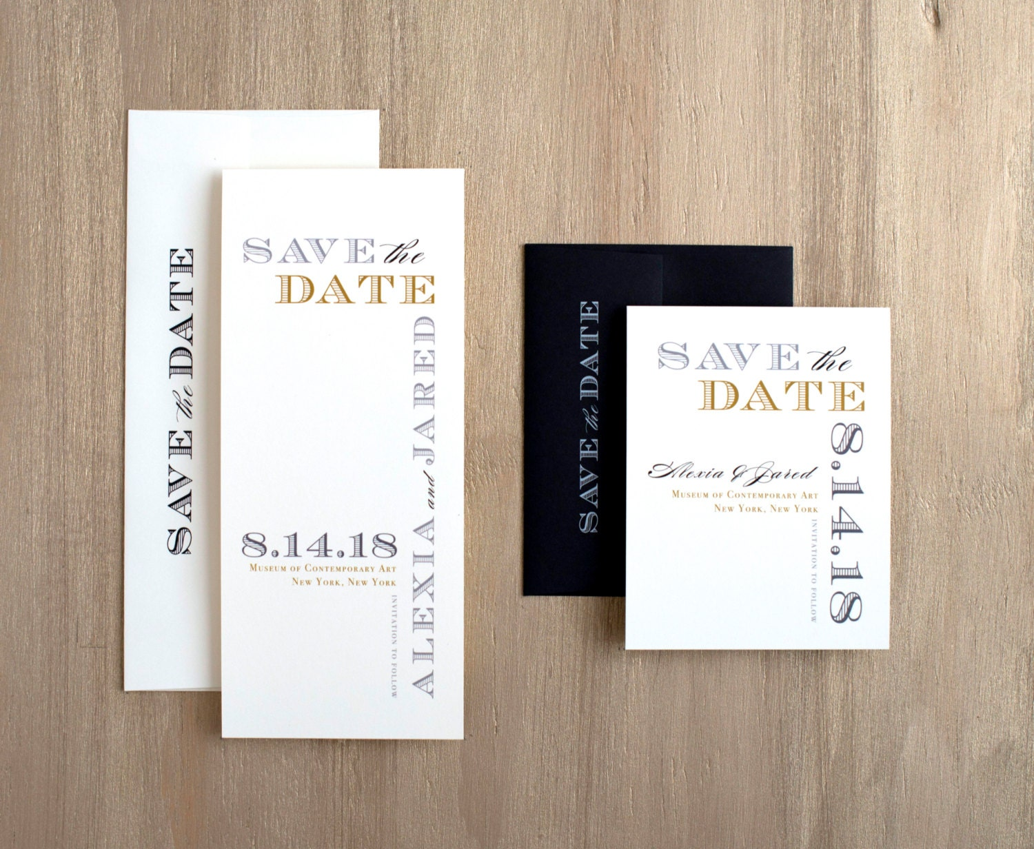 Modern Industrial Save the Dates Industrial Wedding Black