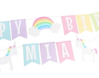 Pastel Rainbow Unicorn Birthday Banner - Pastel Rainbow Birthday Banner - Unicorn Birthday - Rainbow Name Banner - Unicorn Name Banner