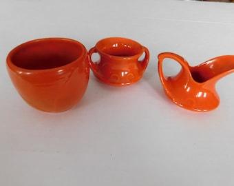Vintage red wing art pottery orange