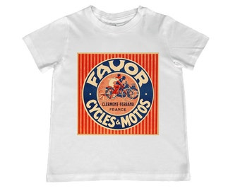 Fabulous Favor Cycles & Motos French poster image on childs tshirt- other colors personalization available, youth sizes xs, s, m, l