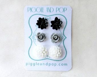 Flower Stud Earrings Set, Black White Grey Earrings, Small Resin Flower Earrings, Monochrome Post Earrings, Black and White Earring Stud Set