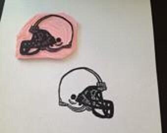Hand Carved Football Helmet Stamp