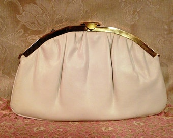 Harry Levine Cream Evening Bag, Off white Evening Bag, HL signed Evening Bag, Party Purse, Prom Purse