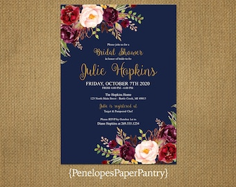 Elegant Rustic Fall Bridal Shower Invitation,Navy,Burgundy,Marsala,Blush,Gold Print,Rustic,Personalize,Custom,Printed Invitation,Envelopes