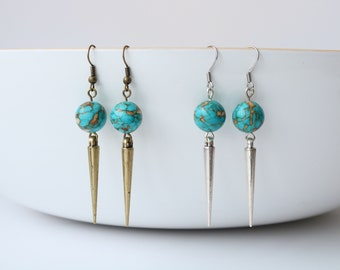 Turquoise spike earrings, silver spike jewelry, bronze earrings, gemstone earrings, turquoise jewelry, tribal earrings, gift for teen, funky