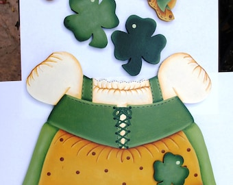 "Girl St Patrick Dress Outfit - Wooden ""Seasonal Bear"" Outfit - Interchangeable Wood Outfit"