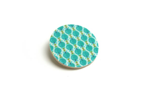 Brooch natural wood, geometric print turquoise graphic apples