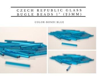 "Czech Republic Glass Bugle Beads 1"" (25mm) 100 pcs color-Bondi Blue"