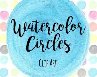 Hand Painted Rainbow Circles Clip Art, Watercolor Circles, INSTANT DOWNLOAD, Rainbow Watercolor Circles, Hand Painted Circles, Scrapbooking