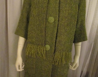 A  Ladies 1960's Olive Green Wool Coat With Shawl---No Label